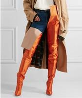 New Rihanna Fashion Women High Waist Boots Black Purple Green Orange Thigh High Booties Pointed Toe