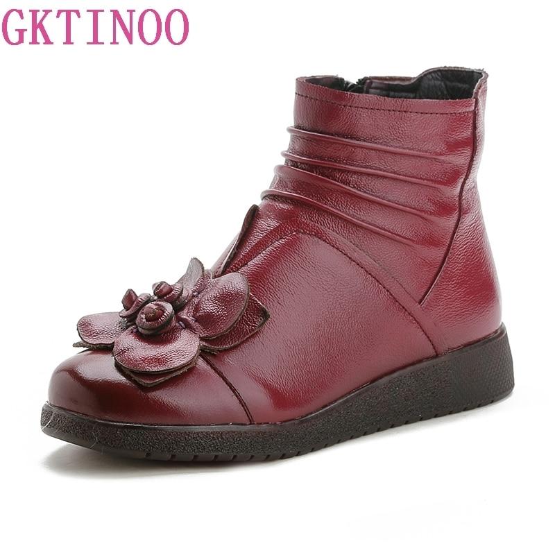 Confortable Gktinoo Avec La Noir 2018 À Chaussures Bottes Nouveau Casual D'hiver Plat Femmes Velours De rouge Neige Cheville Main Des FFxZn07
