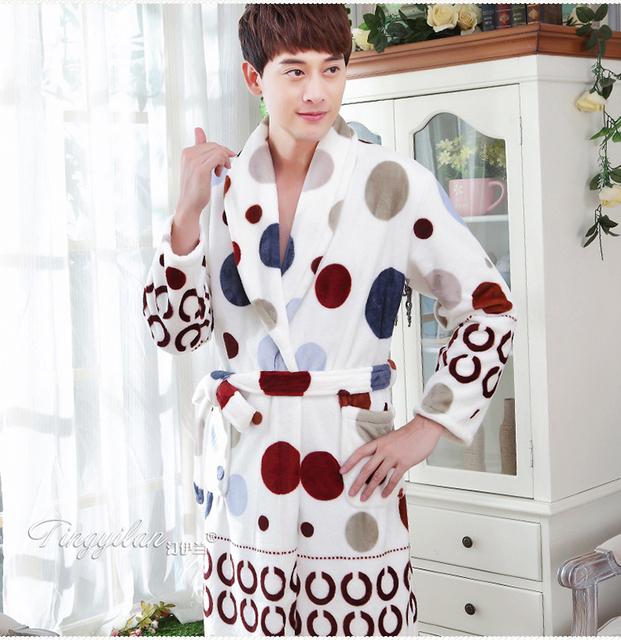 Camisolas De Flanela Roupão de banho Masculino Spa Quente Homem Manga Longa Kimono Robes Homewear Roupão Homens Robe Macio
