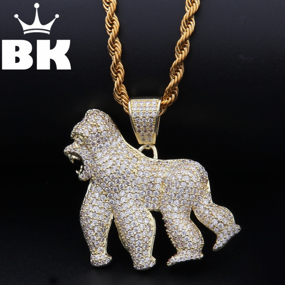 THE BLING KING Custom Gorilla  Mold Necklace HipHop Full Iced Out Cubic Zirconia gold sliver CZ StoneTHE BLING KING Custom Gorilla  Mold Necklace HipHop Full Iced Out Cubic Zirconia gold sliver CZ Stone