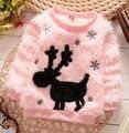 Invierno hermoso encantador de la historieta ciervos de la nieve de lana muchacha de los niños cálido abrigo ropa suéter outwear rosa blanco