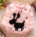 Winter lovely beautiful cartoon snow deer woollen children girl warm sweater clothes coat outwear pink white