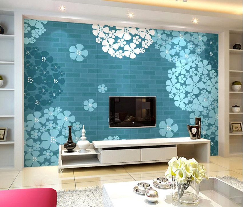 Benutzerdefinierte 3d wandbilder, Elegante Blaue Hortensien papel de ...