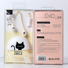 Cartoon Earphone + Case bag + Retail Box Cute Anime Earphone cat 3.5mm headset with MIC best gift