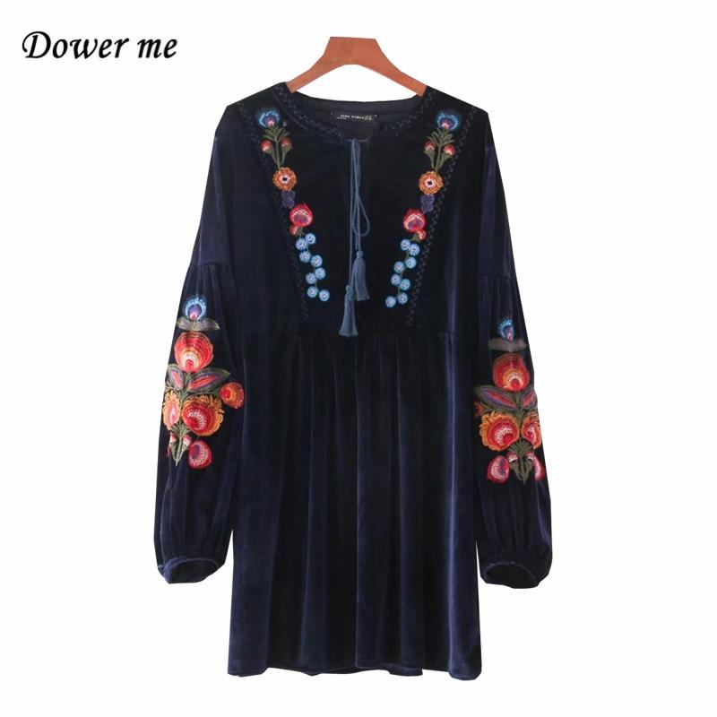 Модные Вышивка Бархат Женское Платье Vestidos элегантный с пышными рукавами дамы Платья для женщин женский тонкий-линии платья yn3057