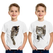 2019 summer boys girls t shirt 3D cat Funny Cute animal print white tops short sleeve casual tees for children baby t-shirt 2018 bobo choses clothes boys banana pattern t shirt girls summer t shirt cute fruit tops tao baby unisex short sleeve tees tops