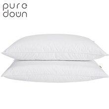0f83a04aa3 Puredown Piuma D'oca Cuscino Biancheria Da Letto di Cotone Bianco Soft  Cover Stile Francese Pane Forma di Sonno cuscino di Riemp.