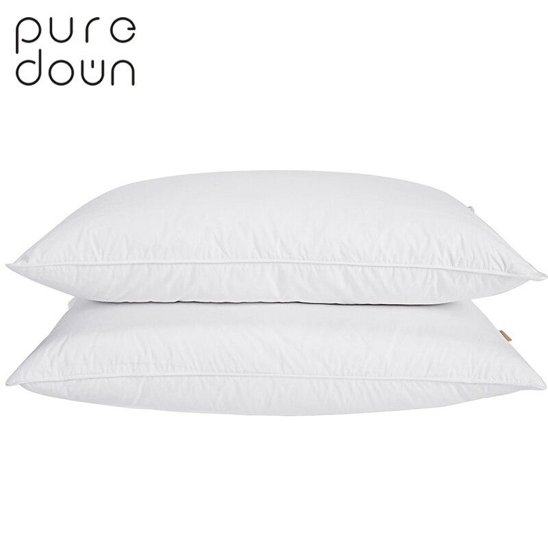 Puredown Literie En Duvet D'oie Oreiller Housse En Coton Blanc Doux Français Style Pain Forme de Couchage oreiller Charge 2 pcs Ensemble PD-16028
