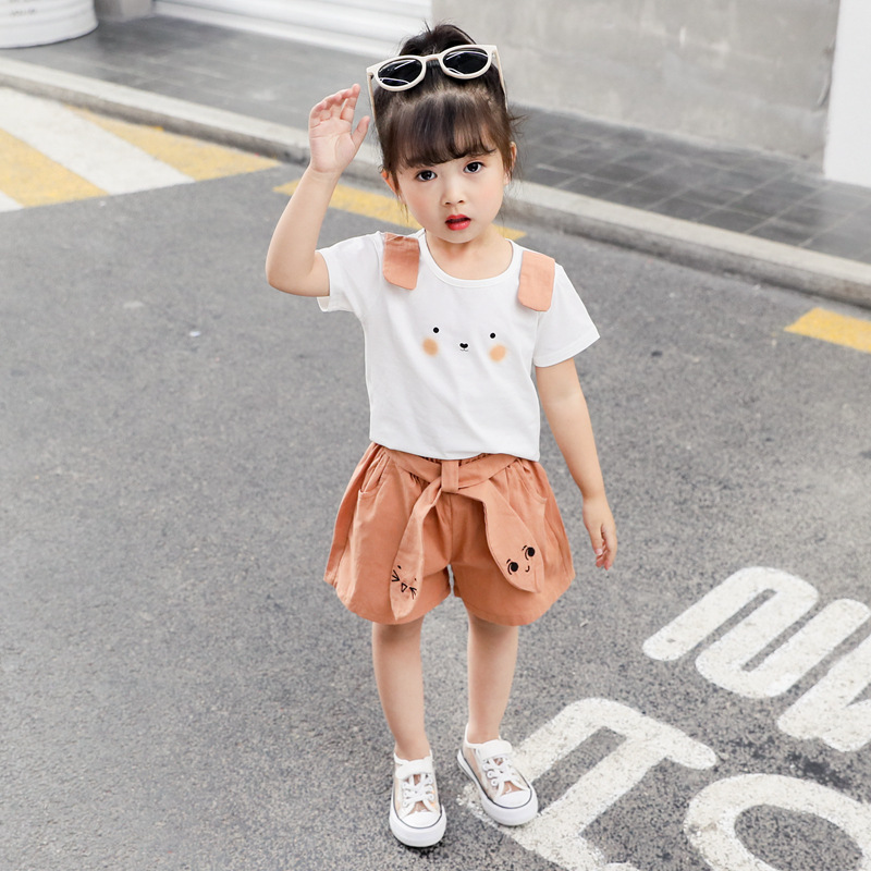 2 Pcs/Set Baby Girls Cute Short Sleeve T-shirt Set Summer New Fashion Trend Korean Ear Bunny Shorts