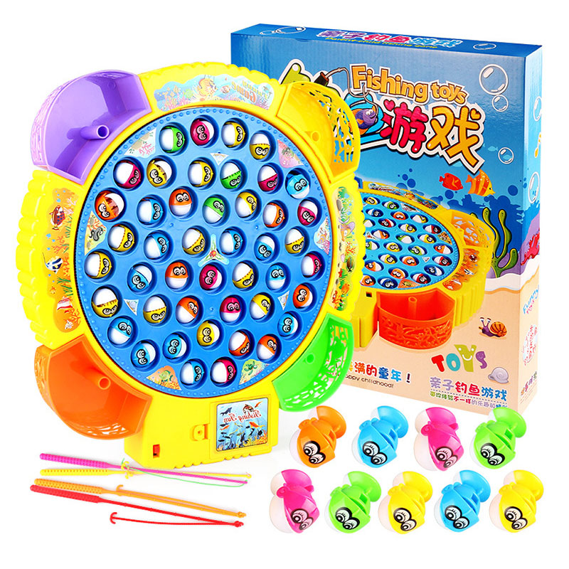 Children's Classical Fishing Toys Set Electric Rotary Music Fishing Set Baby Puzzle Toys Electric Rotating Fishing Game As Gift