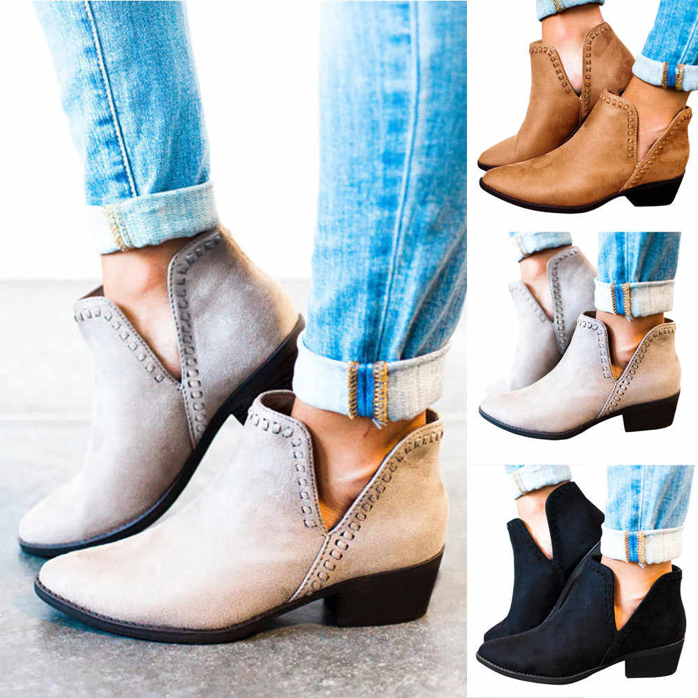 Zapatos mujer tacon 2019 senhoras sapatos de outono tornozelo sólido romon martin botas curtas único sapatos femininos salto novo hhh9