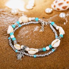 цена на Fashion Shell Turtle Pendant Foot Chain Anklets Bohemian Beach Alloy Beaded Layered Anklet Bracelet for Women Jewelry