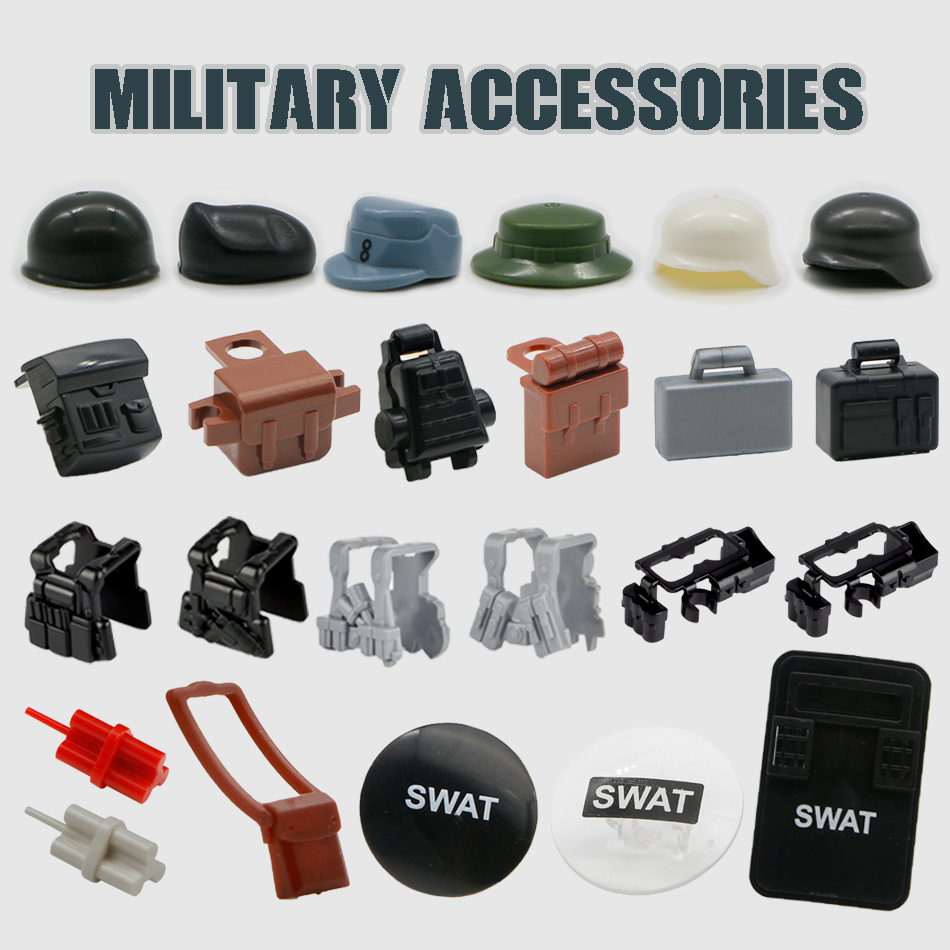 WW2 Military Weapon Pack Building Blocks SWAT Team City Police Army Soldier Figure Accessories Bricks Toy Compatible Legoed Arms