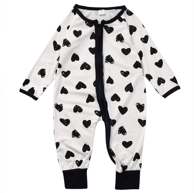 b3dfc3b23 Pudcoco Baby boy Infant Zip up Sleeper heart Print Long Sleeve Sleep ...