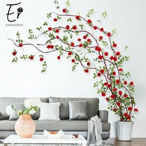 Image 1 - Erxiaobao flores artificiales largas de seda falsa, rosa, flor, enredadera, bastón de ratán, fiesta en casa, boda, pared, puerta, estantería, decoración