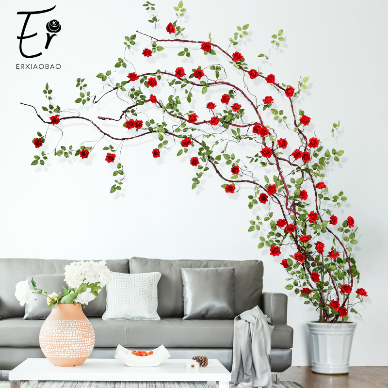 Erxiaobao Artificial Flowers Long Fake Silk Rose Flower Vine String Rattan Cane Home Party Wedding Wall Door Bookshelf Decor title=