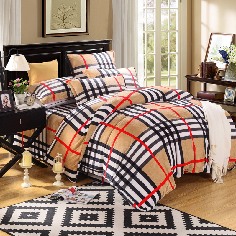 Modern bed linen plaid duvet covers king size striped bed for Beds queen size uk