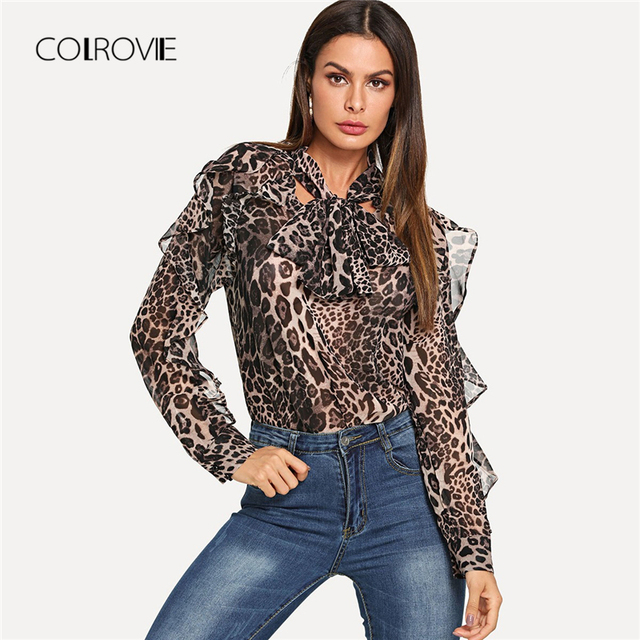 COLROVIE Leopard Elegant Ruffle Trim Knot Women Blouse Shirt 2018 Autumn  Streetwear Fashion Ladies Tops And 5dbaf159ae45