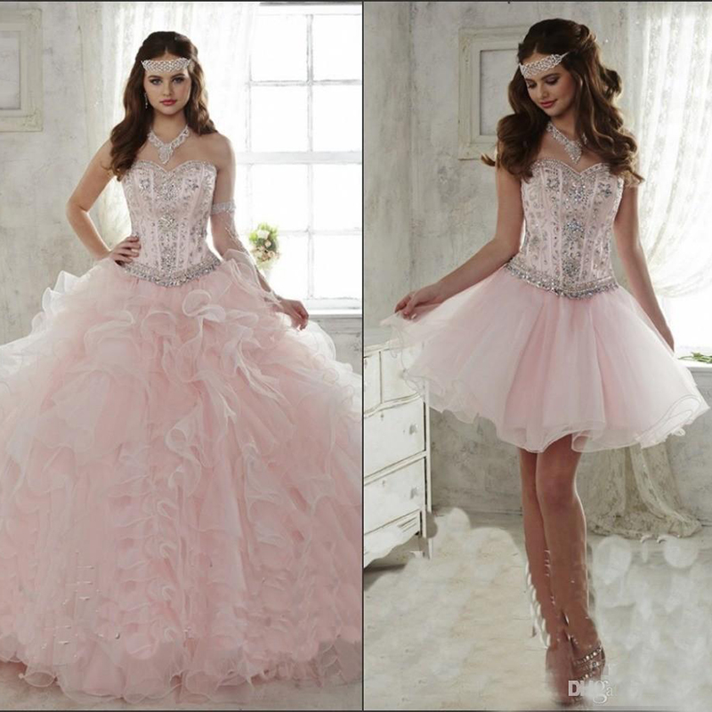 Pink Quinceanera Dresses With Detachable Skirt 2019 Crystal Beaded Sweetheart Corset Ruffle Sweet 15 Party Girls Masquerade Gown(China)