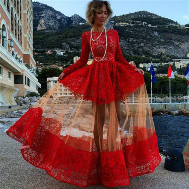 002fa564de8 New Arrival Red Sexy Lace 2016 UK Long Sleeve Floor Length Jewel Fashion A- line Wedding dress Custom Made