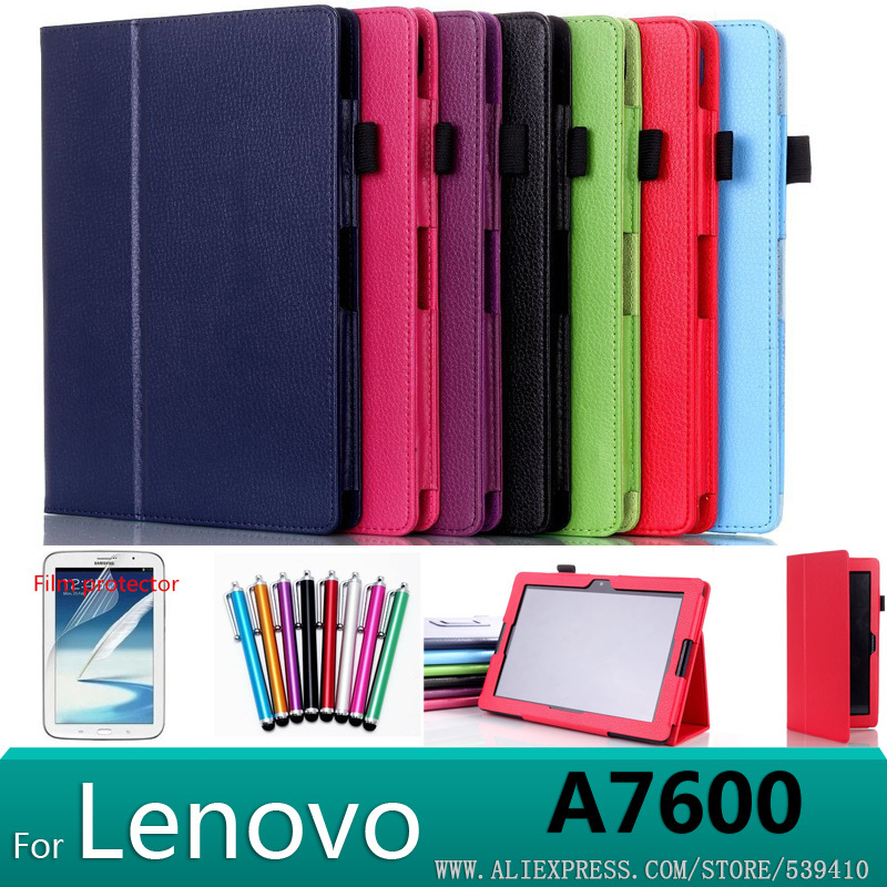 US $11 2 |For Lenovo A10 70 A7600 case Stand Litchi leather case cover For  Lenovo A7600 A10 70 tablet pc case+ screen protectors+stylus-in Tablets &