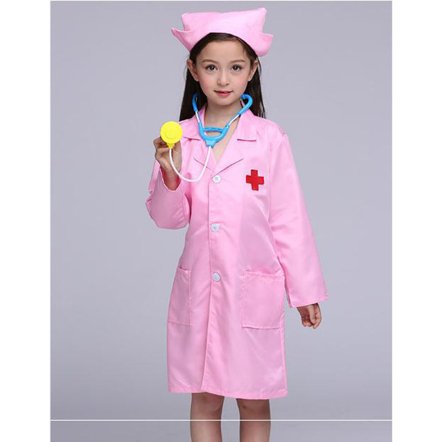 Kids Doctor Cosplay Costumes Baby Girls Nurse Uniforms Role Play Halloween Party Wear Fancy 5PCs Girls Cosplay Doctor Jacket