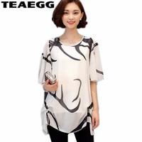 TEAEGG Summer Chiffon Blouse Floral Print Tops Women White Shirts Office Women Blouse Womens Clothing Plus Size 4XL 5XL AL841