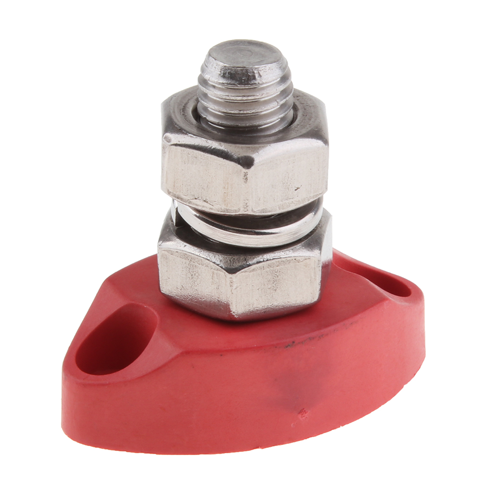 Terminal Junction Block Stainless Power Post Distribution Buss Bar Red