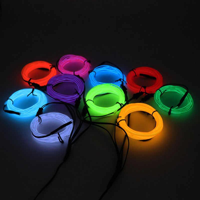 1 M/2 M/3 M/5 M Neon światła imprezowa ozdoba do tańca światła Neon LED lampa elastyczne przewód świecący rura wodoodporna taśma LED 3V