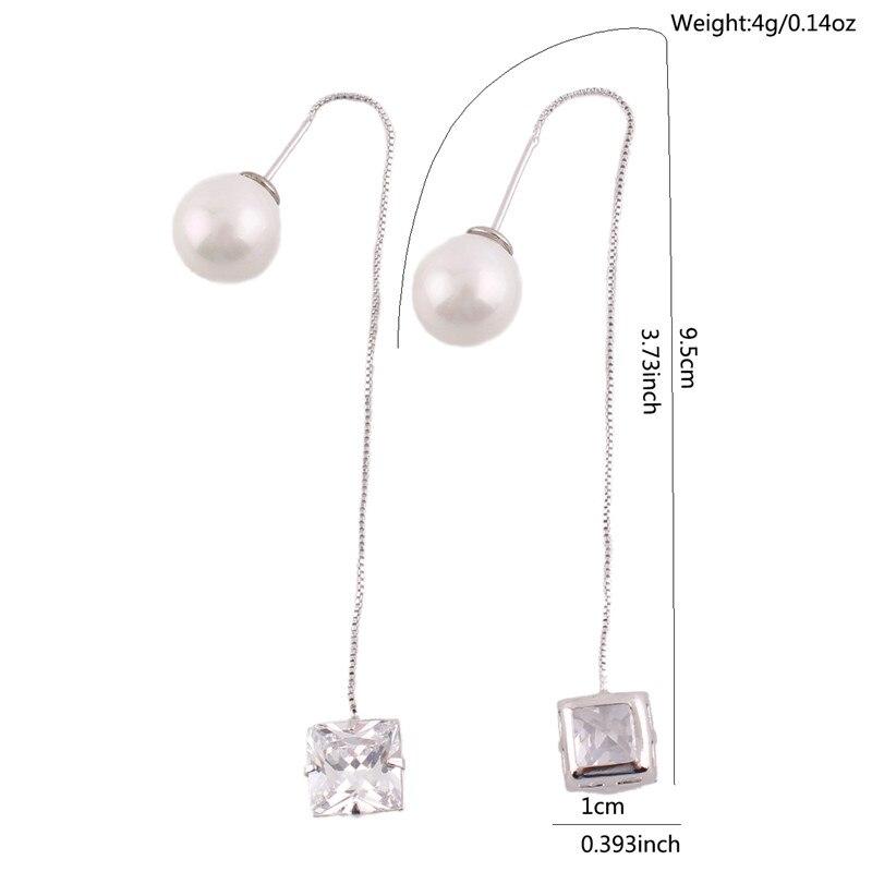 Grace Jun Korea Style Long Tassel Simulated Pearl Square AAA CZ Ear Wire Dangle Drop Earrings for Girls Party Wedding Good Gift