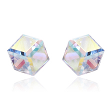 Hot Sell Simple Square Colorful Crystal Stud Earrings For Women Fashion Geometric rainbow 925 Sterling Silver Jewelry