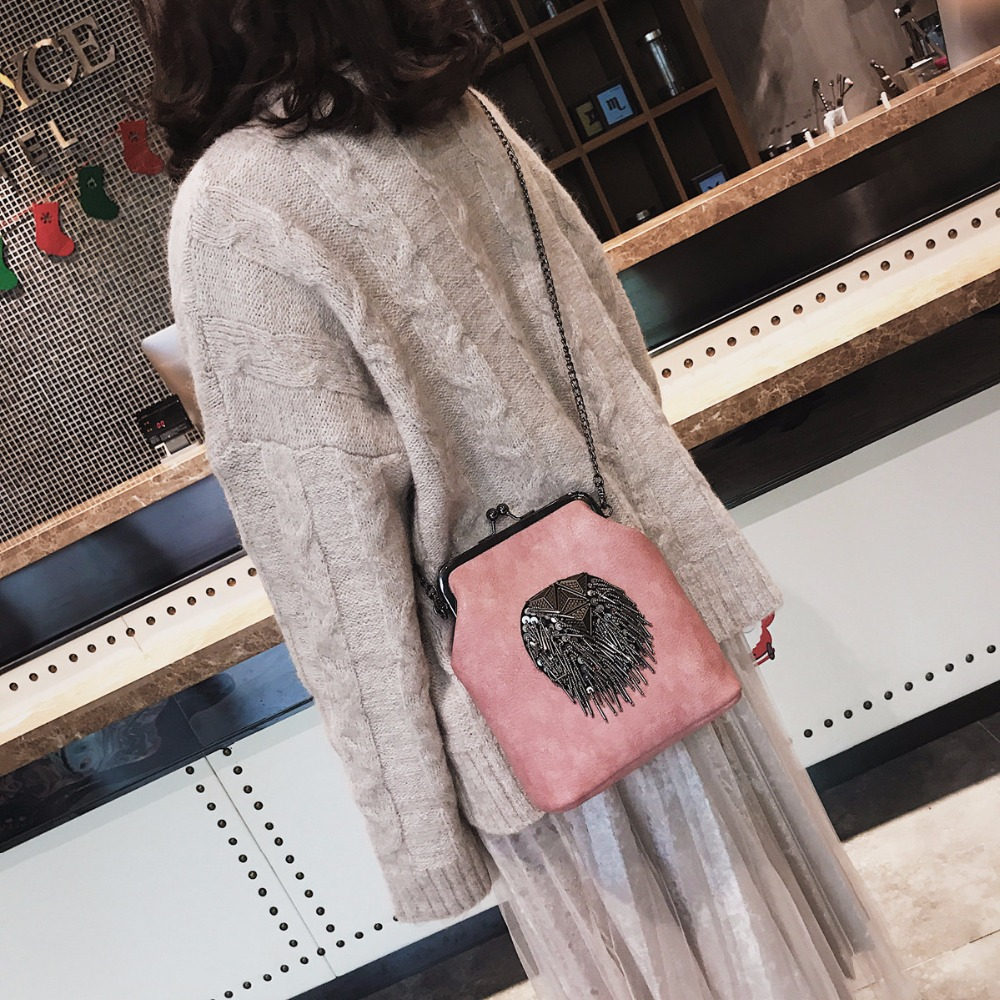 Image 5 - HANEROU Messenger Bags for Women PU Leather Tassel Fashion Frame Bag 2018 New Arrival INS Style Crossbody Chains Shoulder Bags-in Shoulder Bags from Luggage & Bags