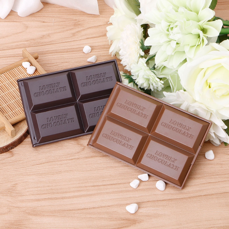 Cute Chocolate Cookie Shaped Square Pocket Mirror Mini Foldable Makeup Mirror Pro