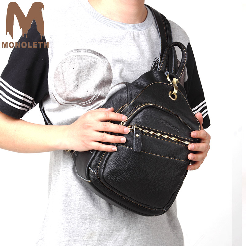 MONOLETH anti theft backpack Genuine Leather Backpacks men and women school bags for teenage small Casual shoulder Bagpack new design women backpack guarantee 100% genuine leather men backpacks casual shoulder bags school bags for women bolsas li 1387