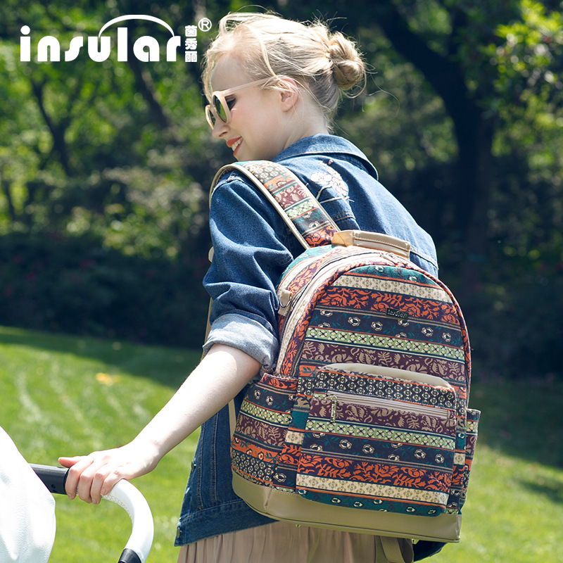INSULAR Bohemia Elements Women Travel Backpack Land Maternity Backpack Nappy Diaper Bag Big Mochila Baby Care Bag for Mom