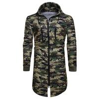 Fashion Man Hip Hop Long Design Hoodies Men Sweatshirt Streetwear Army Camouflage Coat Casual Men Sportswear