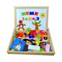 다기능 나무 동물 자기 퍼즐 드로잉 보드 및 영어 알파벳 문자 숫자 학습 및 교육 장난