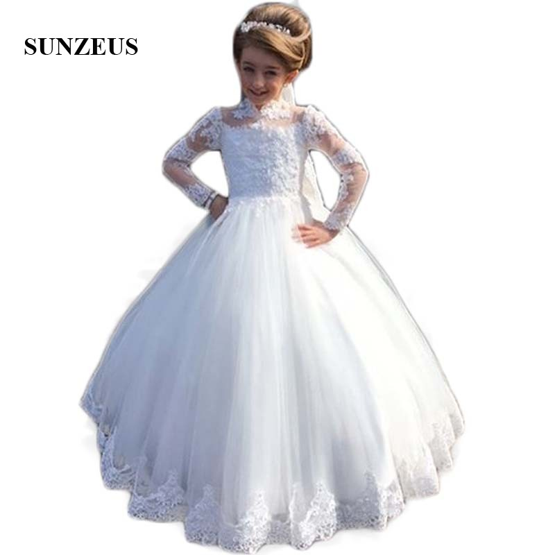 High Neck Long Sleeve Wedding for Little Kids Lace Appliques Ball ...