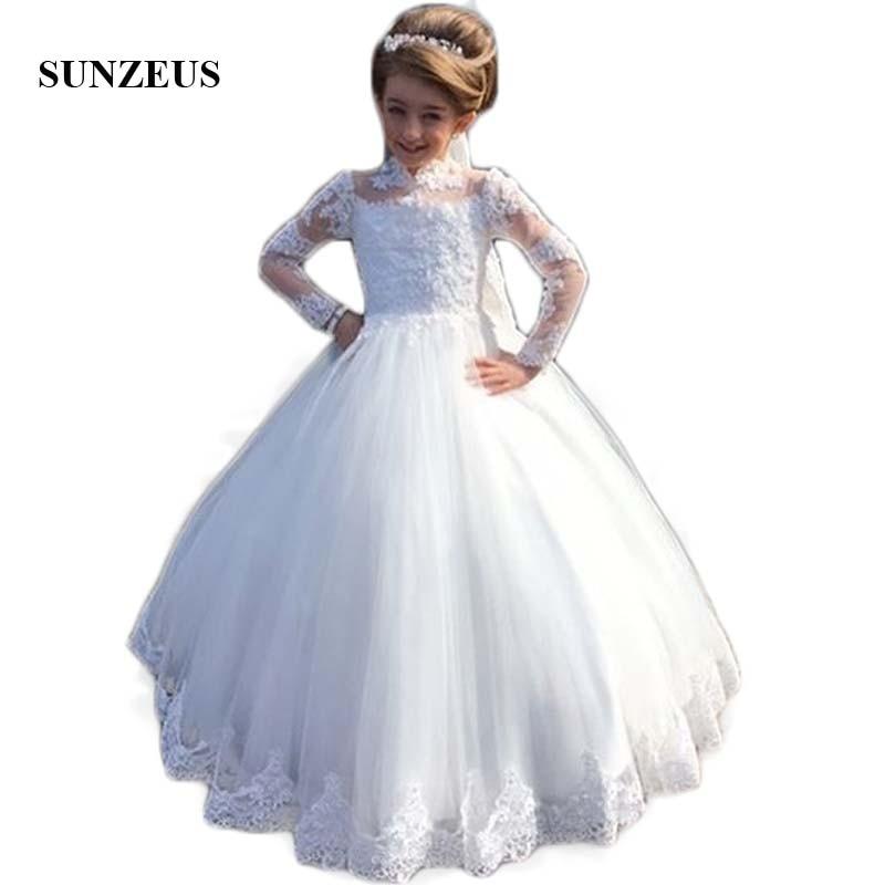 High Neck Long Sleeve Wedding for Little Kids Lace Appliques Ball Gown Flower Girls Dresses Elegant vestido daminha SF25