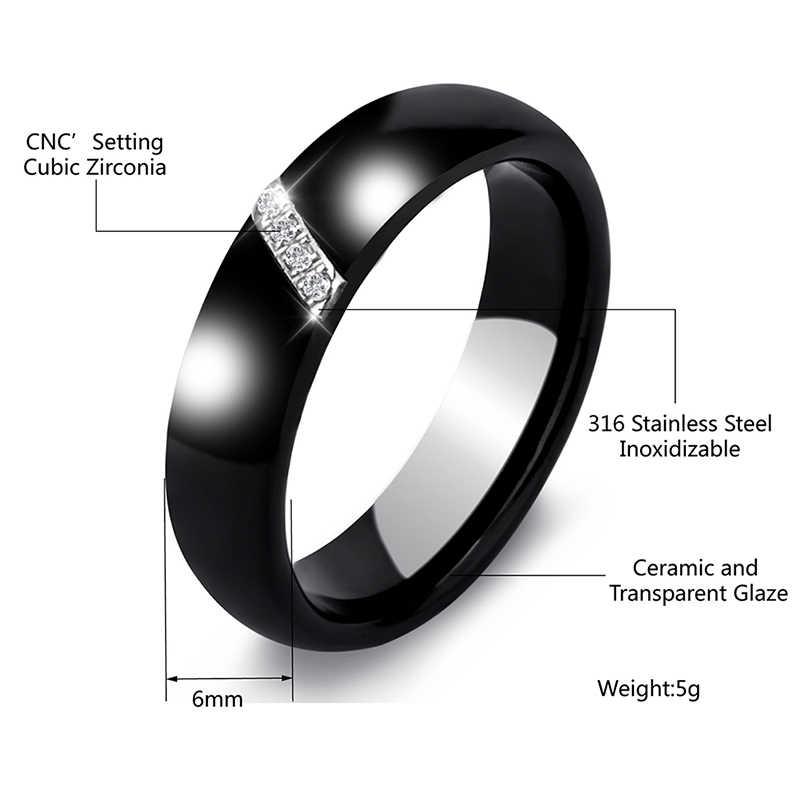 ใหม่ 6 MM คริสตัลเซรามิคแหวน Cubic Zirconia หินสีดำและสีขาวผู้หญิงเครื่องประดับหมั้นงานแต่งงานของขวัญผู้หญิง