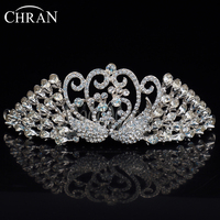 CHRAN Classic Peacock Shape Costume Hair Jewelry Bridal Accessories Lovely Rhodium Plated Crystal Princess Wedding Crown