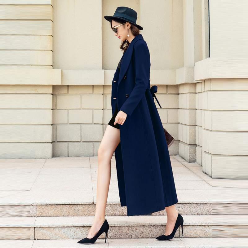 2018 Navy De Hiver Manteau Tempérament Mode Automne Femmes Élégantes Pr559 Solide Laine Mince Long Veste black Vêtements Blue Couleur Des D'hiver UqBUrWnP