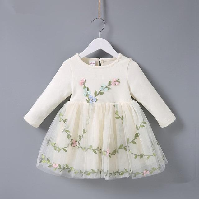 2019 אביב טבילת נסיכת מסיבת יום הולדת פרחי דשא רקמת תינוק בנות שמלת ילדי בגדי כדור שמלה ורוד בז '0- 2 T
