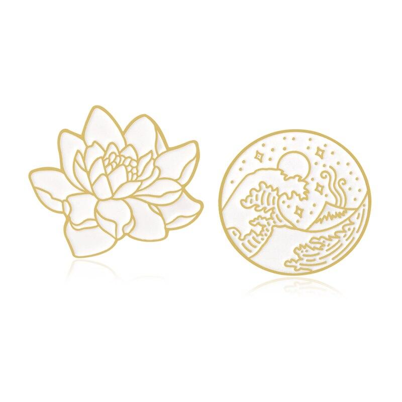 Круглая брошь Lotus Great Wave, брошь в форме цветка лотоса, морской волны, звезды, Луны, океана, растения, эмалированная булавка, брошка на отворны, ...