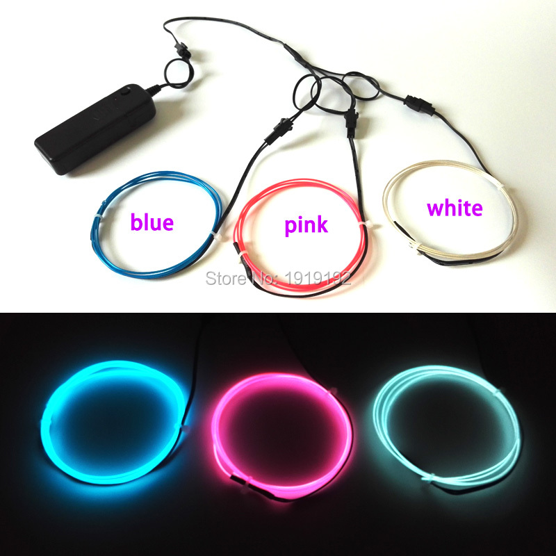 2017 NEW For toys ,craft, clothing Festival decoration 1.3mm 1Meter 3pieces electroluminescent wire flexible EL wire neon light