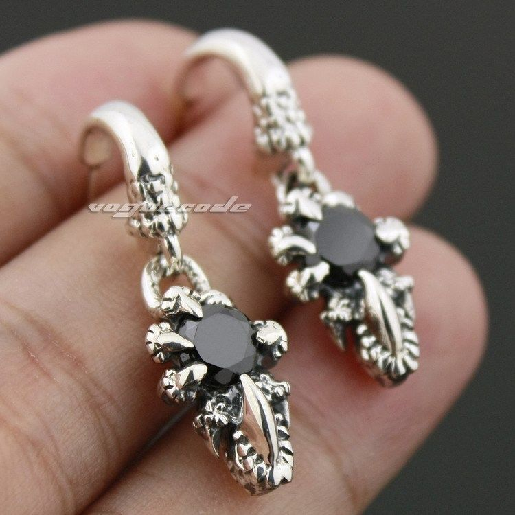 925 Sterling Silver Dragon Claw Mens Biker Rocker Stud Earring 8R007_#pair марк бойков 泰坦尼克之复活 возвращение титаника resurrection of titanic isbn 978 5 906916 00 6