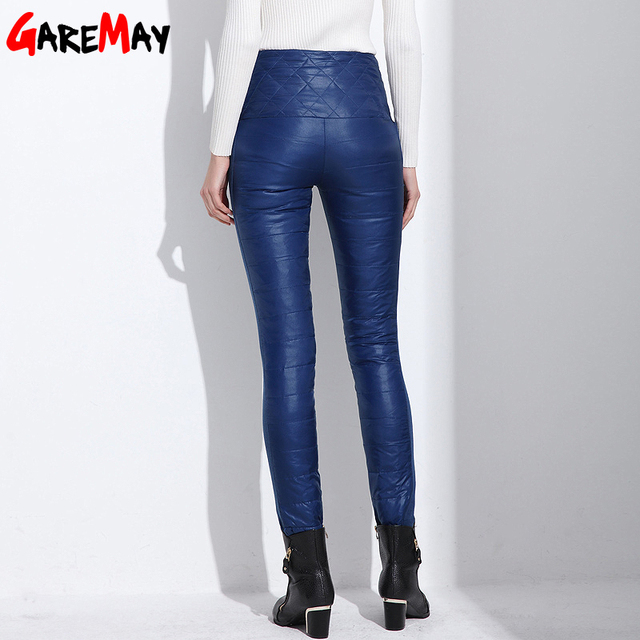 Pants Trousers Winter High Waisted Outer Wear Women female Fashion Slim Warm Thick Duck Down Pants Trousers skinny