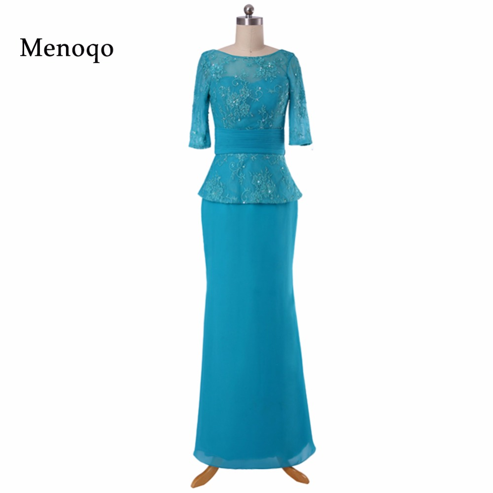 Real Picture Elegant Women Sheath Evening Dresses  Chiffon Lace Mother Of the Bride Dresses Half sleeve vestido de fiesta