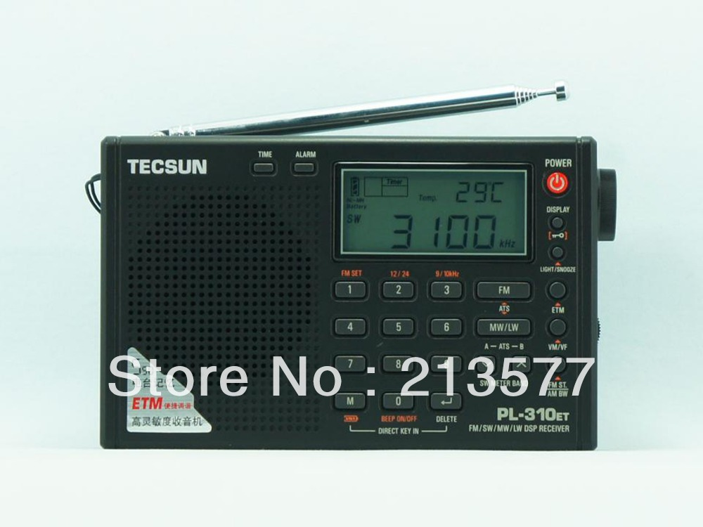 China Famous brand Radio TECSUN PL 310ET FM Stereo SW MW LW World Band PLL
