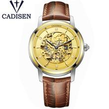 цена на CADISEN Brand Fashion Luxury  Mechanical Men's Watch Skeleton Tourbillon Male Clock Genuine Leather Wristwatch Relogio Masculino